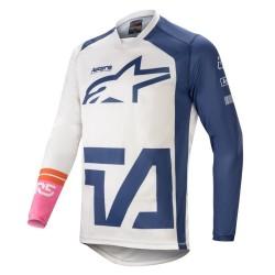 Maglia RACER COMPASS Bianco Blu - ALPINESTARS